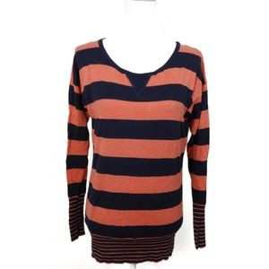 T753 Kaisely Pink Navy Stripe Lightweight Sweater